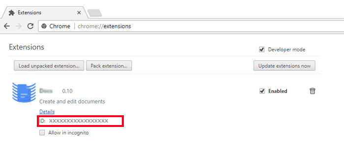copy the extension folder name in Chrome