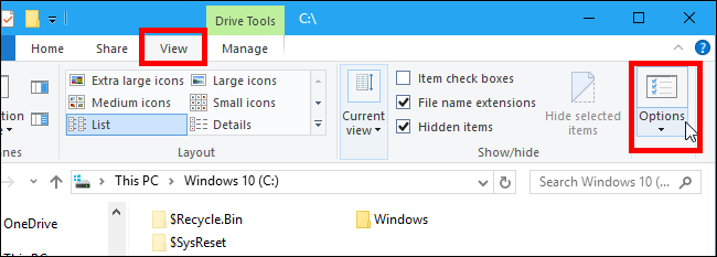 Windows explorer options button