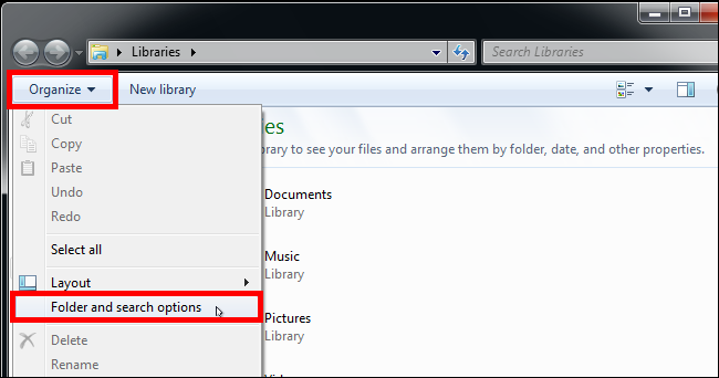Folder and search options in windows 7