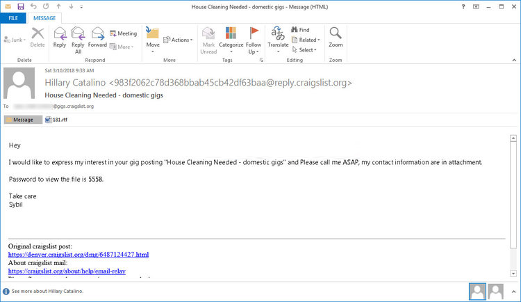 Malware spam Mail for Sigma Ransomware