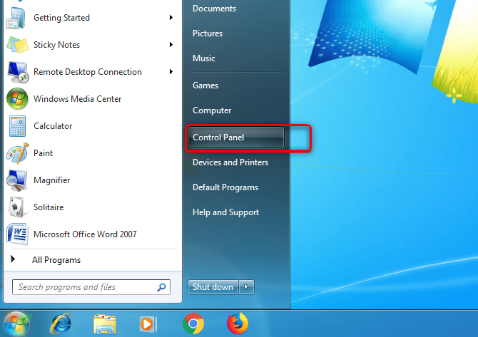 Step 2-Windows 7 Control Panel