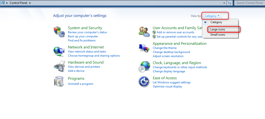 Step 3 - Windows 7 Control Panel