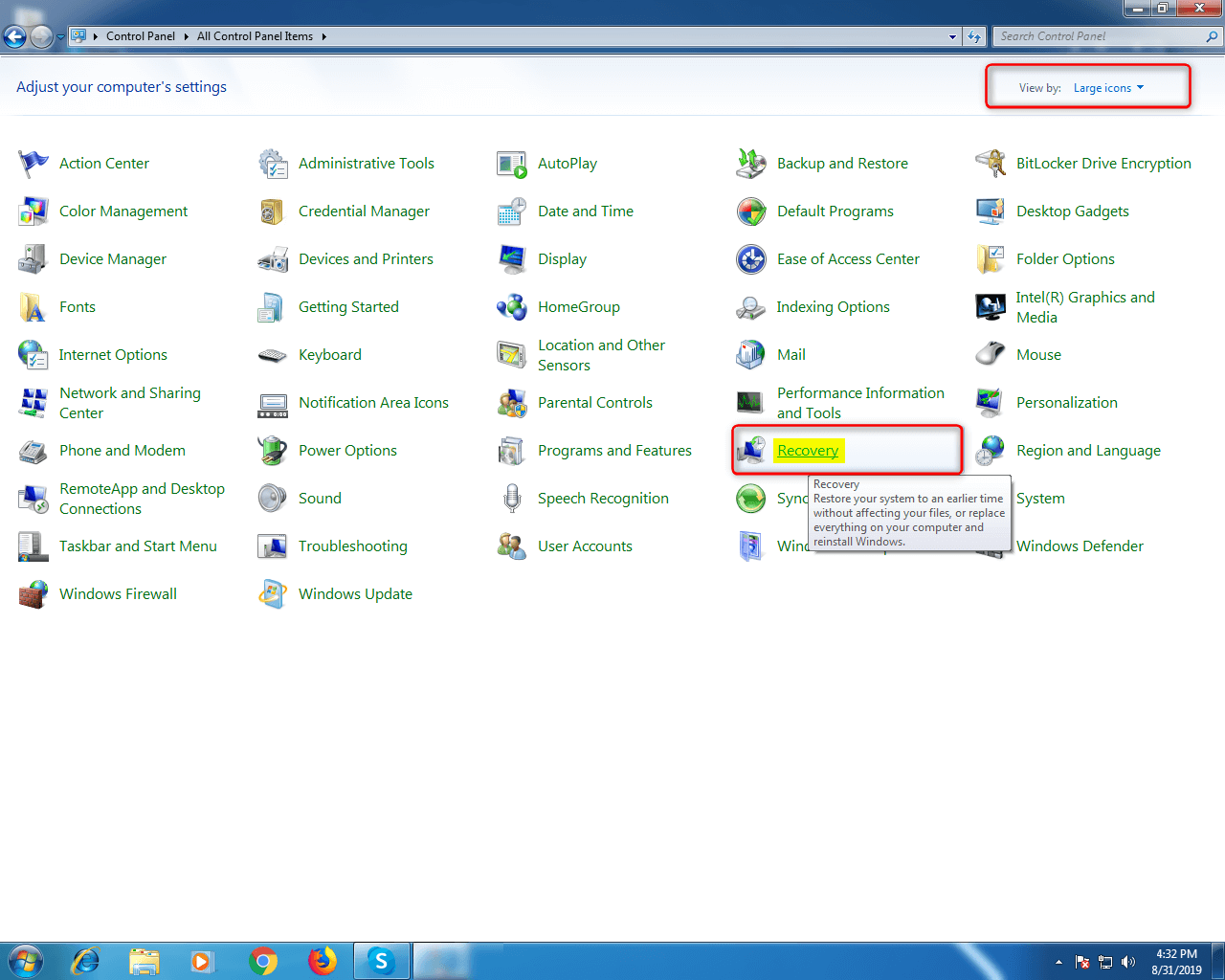 Step 4- Windows 7 Control Panel