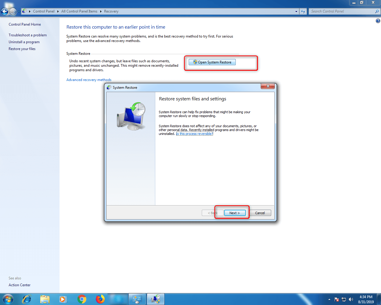 Step 5- Windows 7 Control Panel
