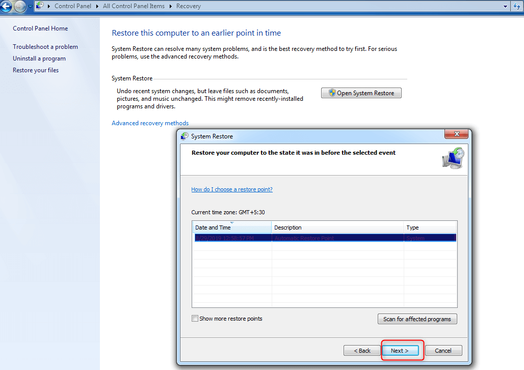 Step 6- Windows 7 Control Panel
