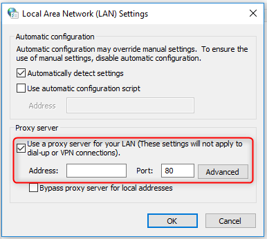 Proxy server checked for windows 10