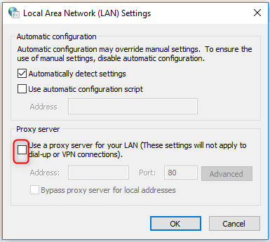 Proxy Server unchecked in Windows 10