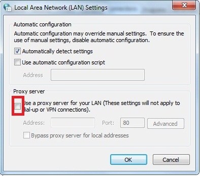 Proxy server unchecked
