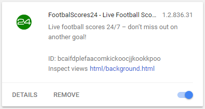 Your24Football.com extension in chrome