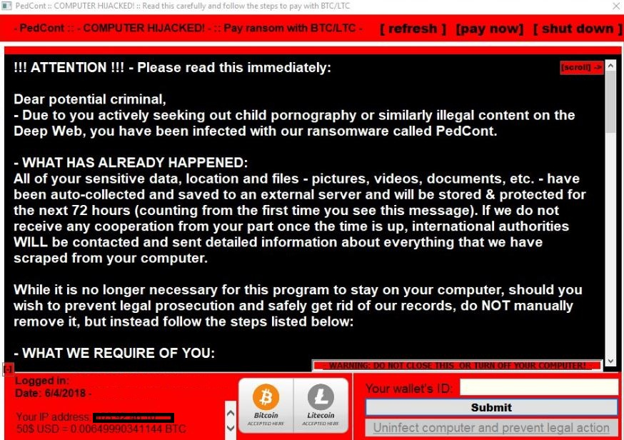 Pedcont Ransomware Ransom note