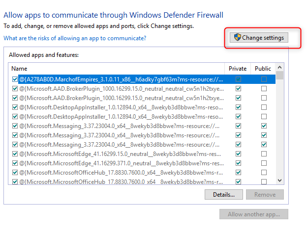Change settings windows defender firewall for windows 10