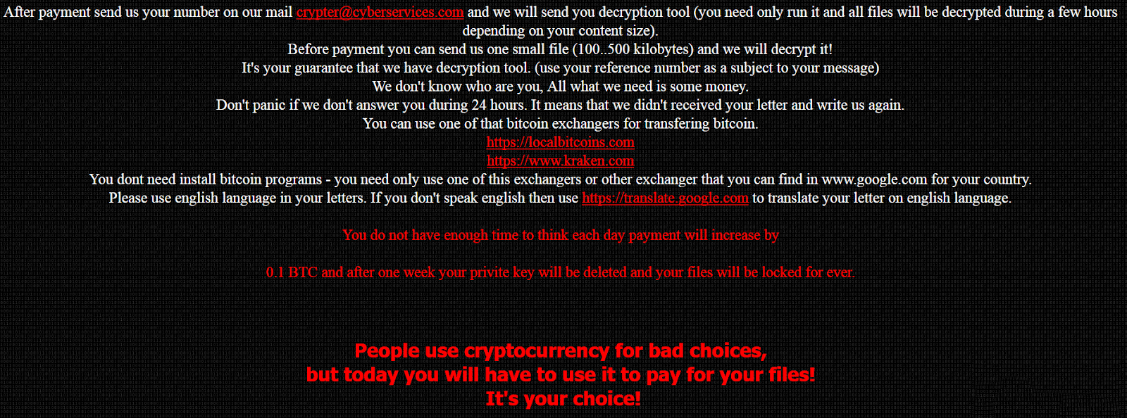 Ransomnix Ransomware Ransom Note Part 2