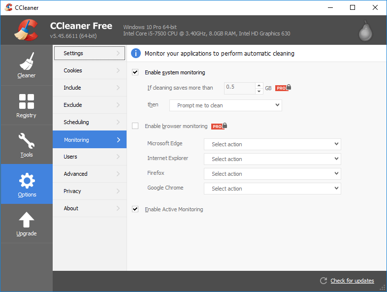 CCleaner Version 5.45 Auto Monitoring