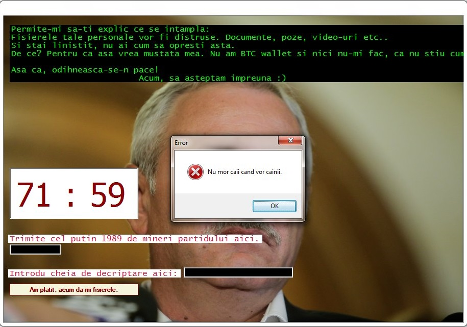 Dragnea Ransomware Ransom Note Error Message