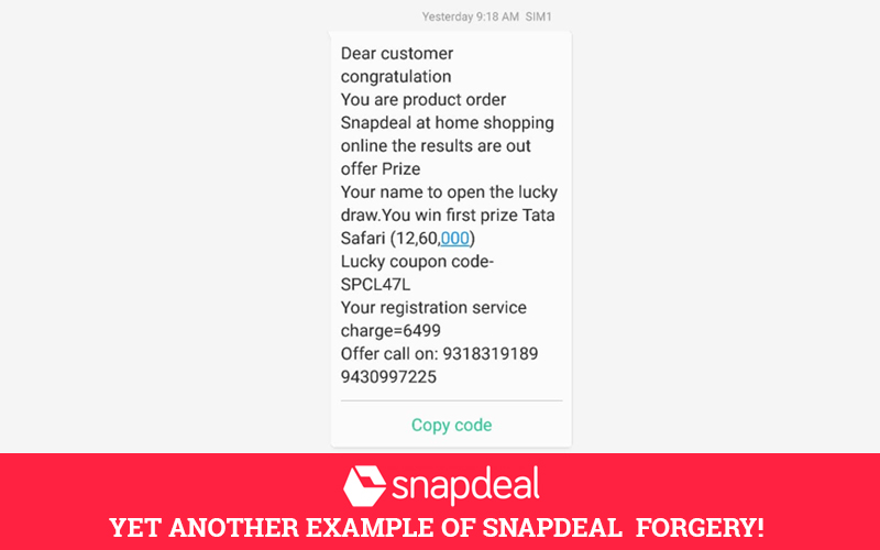 Snapdeal Forgery