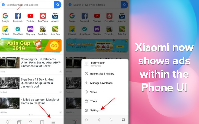 Xiaomi shows Ads in Settings App
