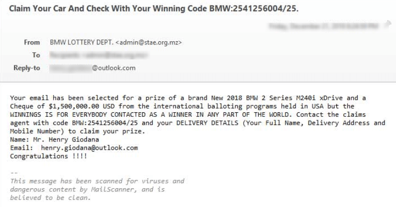 BMW Lottery Scam