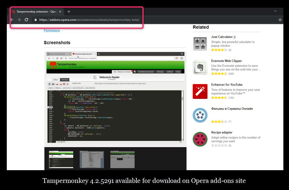 Tampermonkey Chrome Extension Blocked by Opera