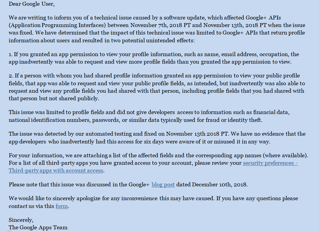 Security notification for December's Google+ API bug
