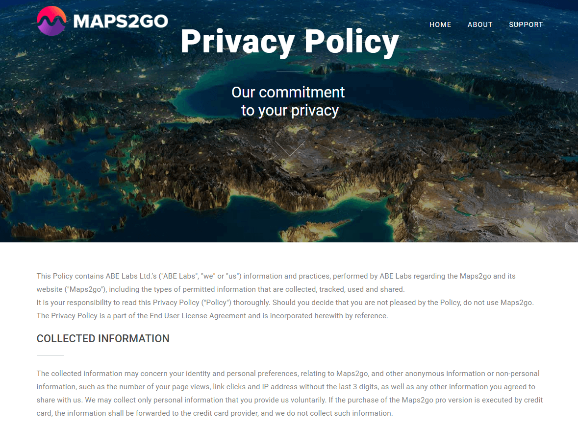 Maps2go Privacy policy