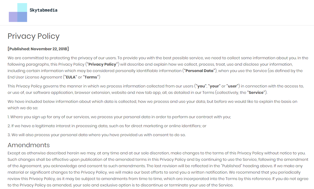 MyStreamingTab Privacy Policy
