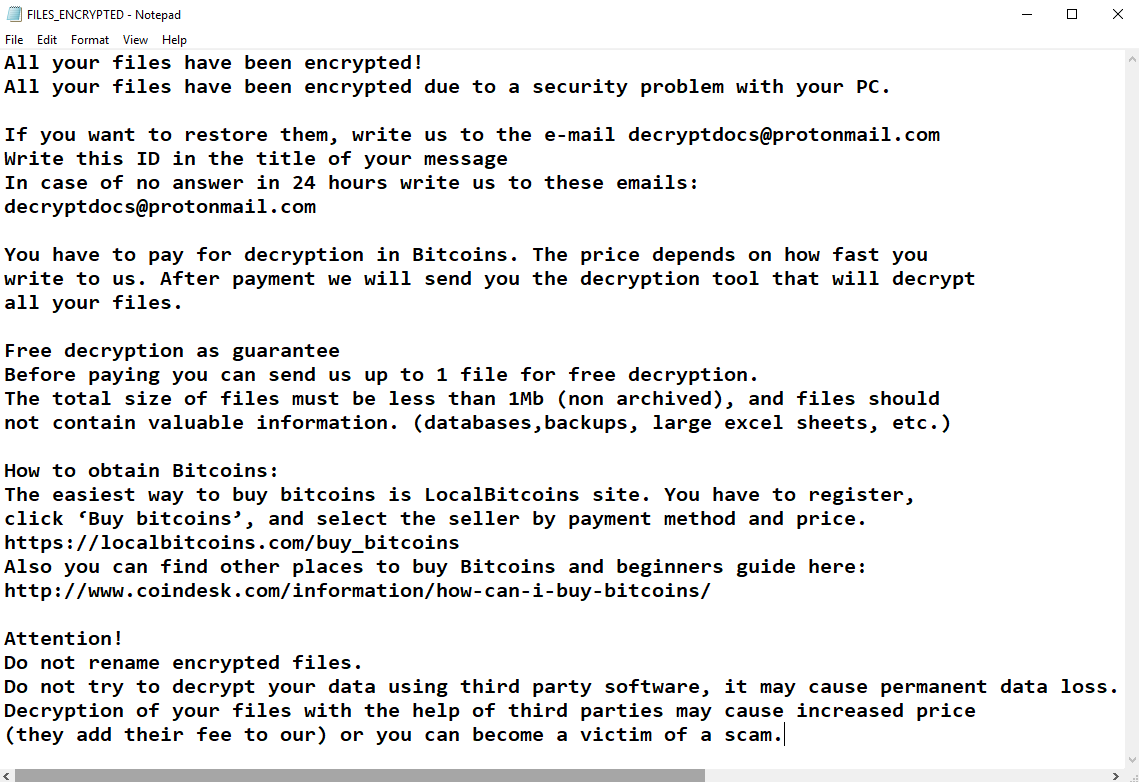 Ransom Note for DecryptDocs