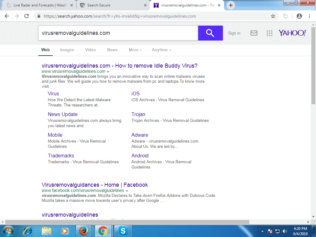Weather Forecast redirects the searches to Yahoo