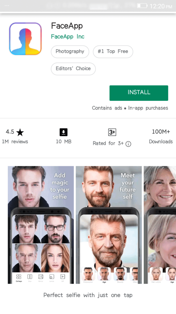 FaceApp on Google Play Store