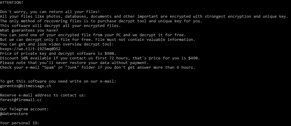 Ransom Note for Litar Ransomware