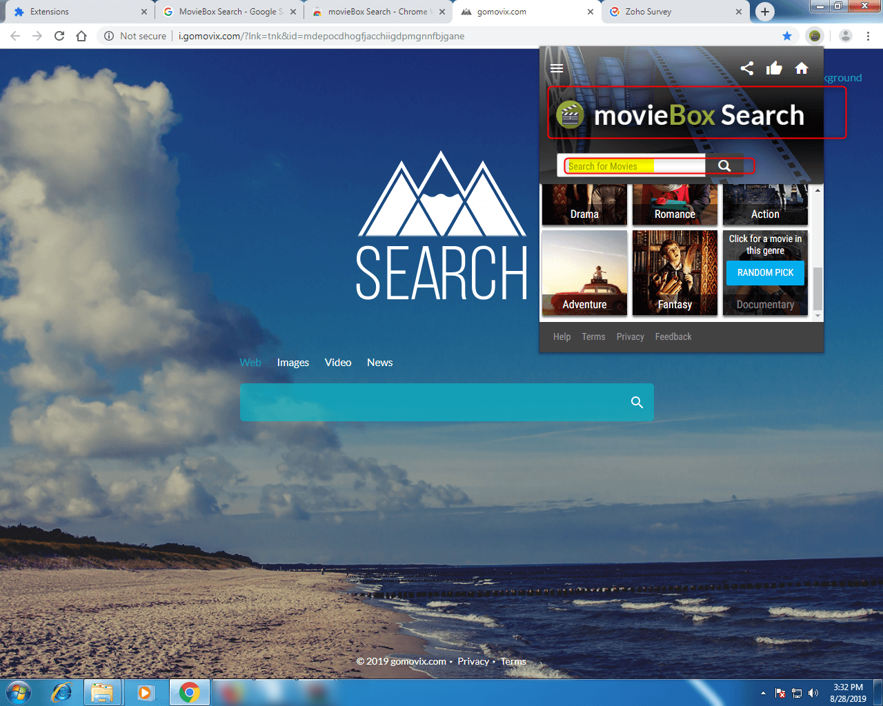 UI of MovieBox Search 1