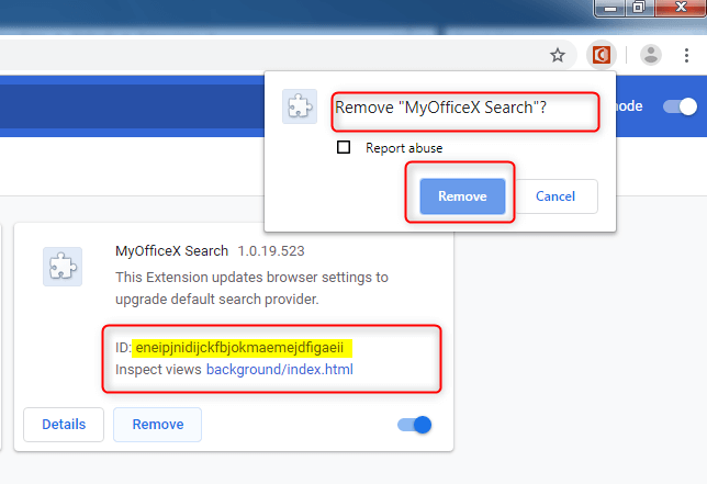 Delete MyOfficeX Search from Chrome
