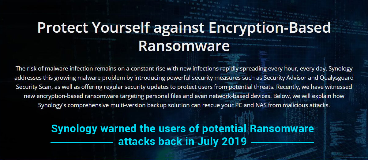Synology warned its users of Ransomware attack