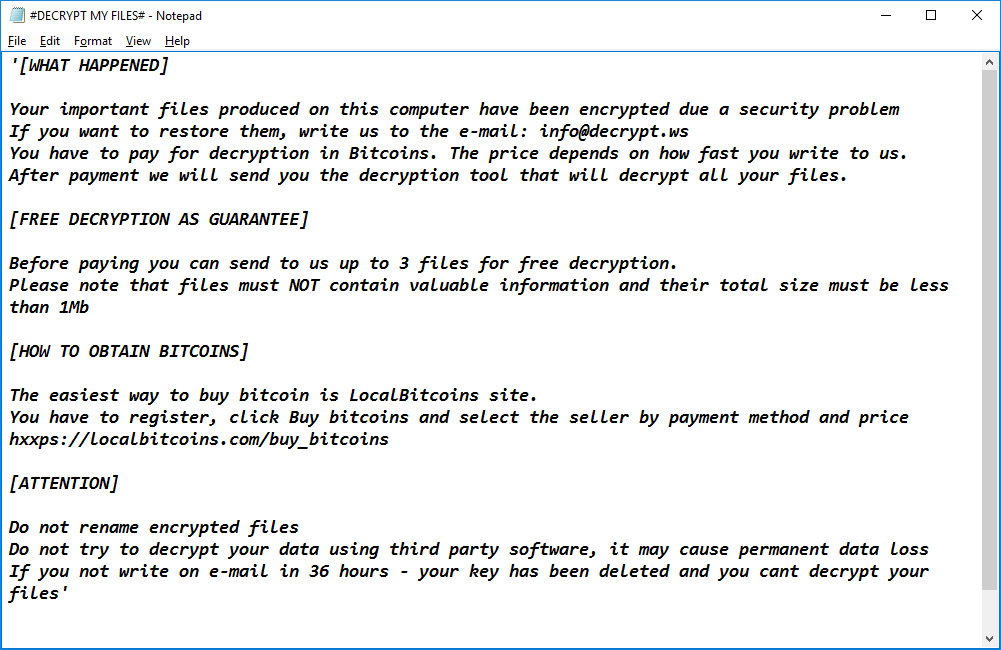 Paradise Ransomware - Ransom Note