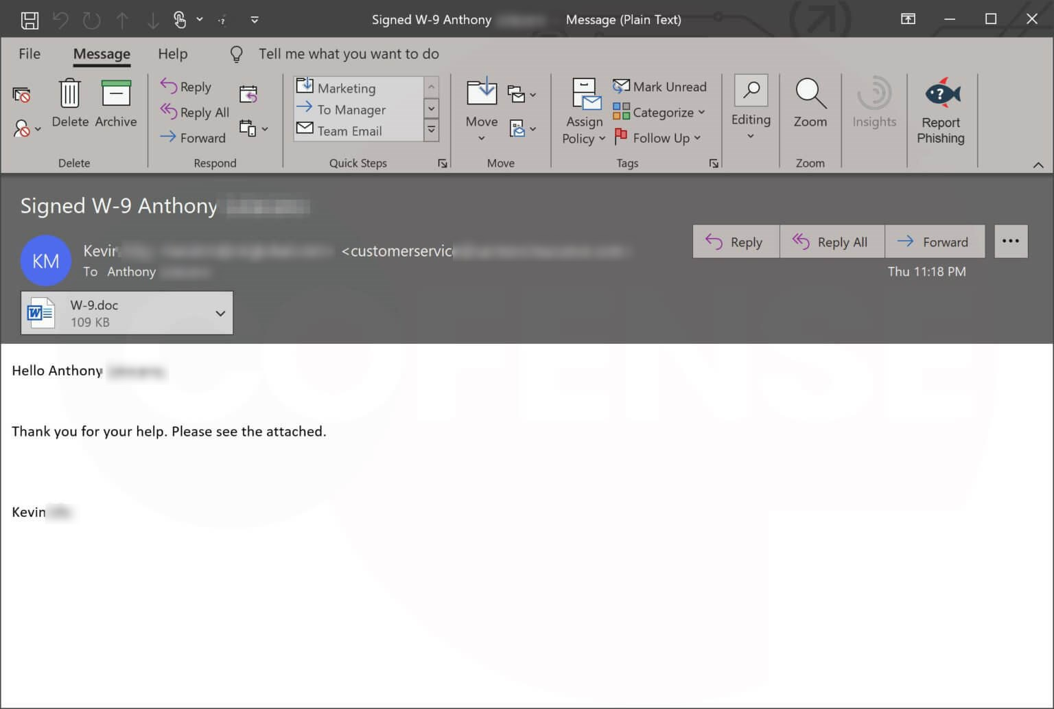 Emotet's Spam E-mail for US Taxpayers